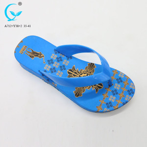 Black rubber elegant summer cheap indian slippers for lady slipper print