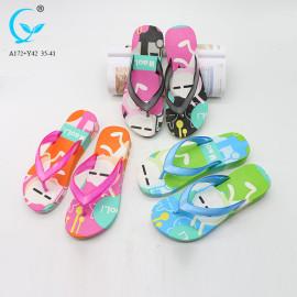 Black color flip flops beautiful ladies sandals beach slide sandal for girls