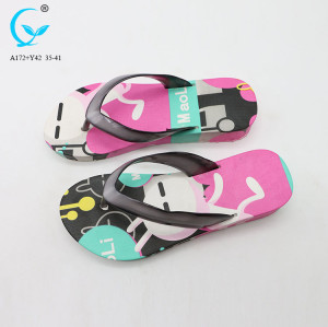 Black color flip flops beautiful ladies sandals beach slide sandal for girls