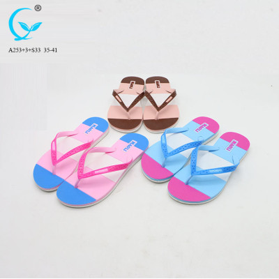 Luxurious pvc slipper fancy flat chappal woman sandals shoes ladies sandal flat