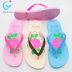 PVC glitter strap and printing eva wedge chappal folding slippers beach flip flops