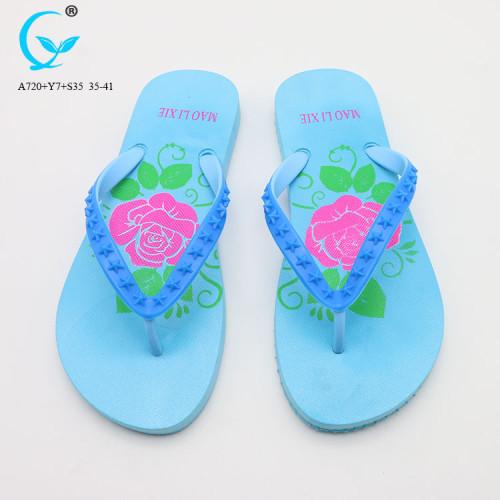 PVC glitter strap and printing eva wedge chappal folding slippers beach flip flops