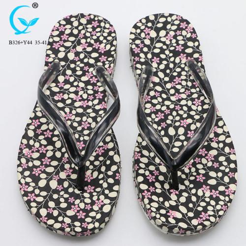 PVC glitter strap and printing eva wedge slipper folding flip-flop sandals
