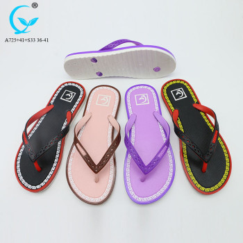 PVC beach sandal for ladies full pattern print slipper cheap sandals