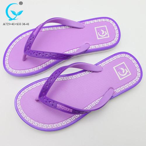 PVC beach sandal for ladies full pattern print slipper cheap sandals