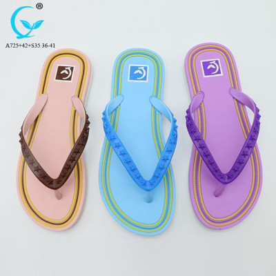 PVC chappal 2018 flip flops rubber slippers beach sandal for ladies