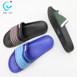 Flat sandals lady rubber flip flops custom printed transfer eva slipper