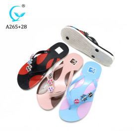2019 high quality pvc printed plastic flip-flops slipper women sandals