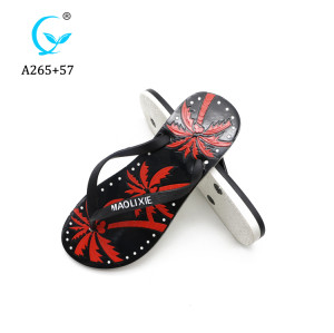 Custom indoor palm printed anti skid women sandals plastic straps flip flops/ Balance slipper shoe