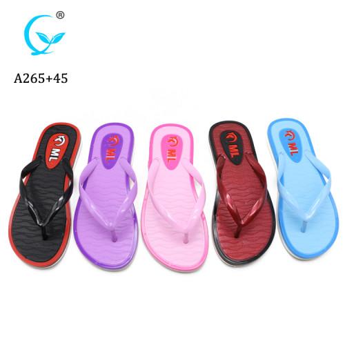 Ladies eva summer beach sandals with sollid plain printing, women pvc slippers and flip flops