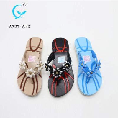 Soft fashionable beach flip flop comfortable flower summer sandals/slipper