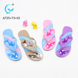 MLX Factory Best selling beach sandal / pvc slipper with fish prited / women flip flop
