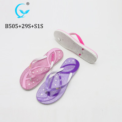 Custom fashionable shimmering pink outdoor beach sand shiny flip flops sandals for women's
