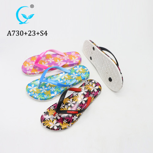 Charm Flower Printed Jelly PVC Flip Flop material 2019 sublimation Slippers Sandals For ladies