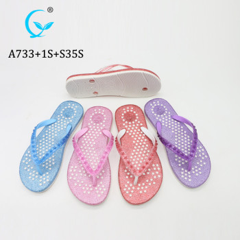 Glittering ladies-sandals shiny flip flops twinkling slippers color pictures