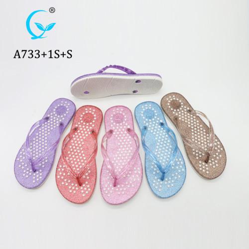 Colorful twinkling women flip flops Gift promotional latest design slipper sandals platform