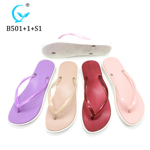 Custom colorful washable flip flop slippers beautiful eva sandals women pvc shoes