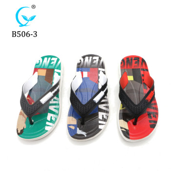 Latest children cheap summer beach slippers fashion printed flip flops for footwear