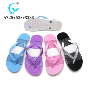 Fashion Fancy Lady latest new design massage shiny pvc slipper for women 2019