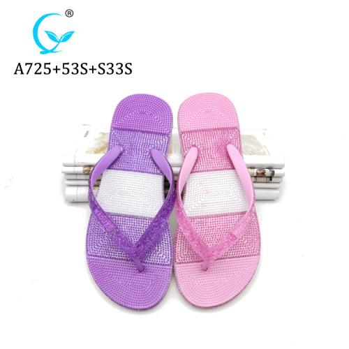 Fashion Fancy Lady latest new design massage shiny pvc slipper for women 2019