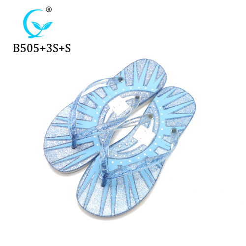 Latest Design Beach colorful Pcu Lady shimmering Slipper ML Factory In China