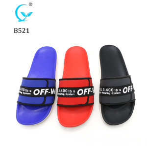 Pop Style custom logo pcu men's sliders sandals black anti-slip eva slippers