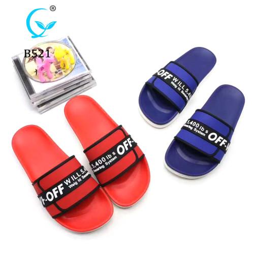 Pop Style custom logo pcu men's sliders sandals black anti-slip eva slippers