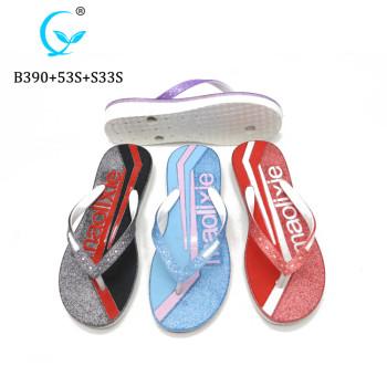 Wholesale custom printed flip flops rubber beach high heel flip flop slippers