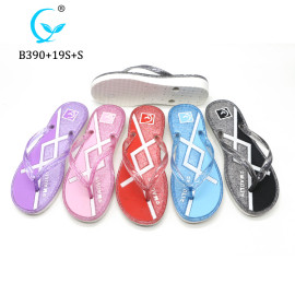 Factory wholesale custom printed summer high heel sandals beach flip flop eva slipper