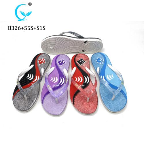 New model women sandals Shiny strap slippers outdoor natural rubber flip flops