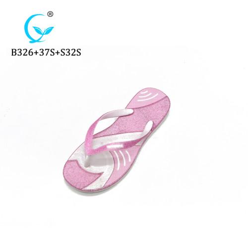 2019 Popular cheap wholesale glitter design beach flip flop slippers
