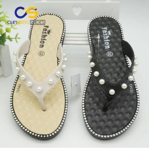 Cheap wholesale price Women flip flops PVC women sandals beads flip flops