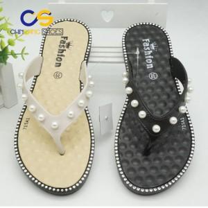 Cheap wholesale price Women flip flops PVC women sandals beads flip flops