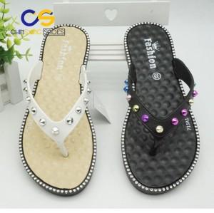 PVC women sandals cheap wholesale price newest designed women flip flops  beads flip flops