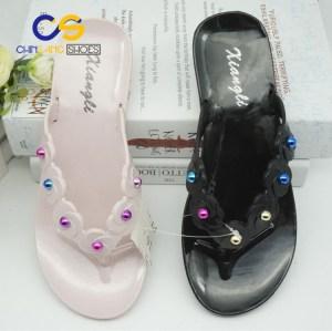 Top sale women flip flop simple sandals for women outdoor beach women slipper with beads