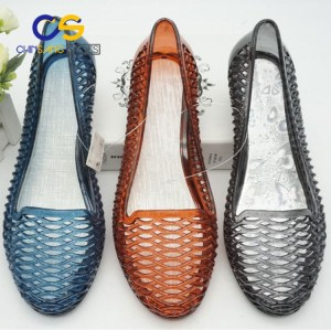 PVC air blowing sandals for old lady high heel casual jelly old lady sandals 40527