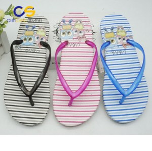 Simple sports stripe women air blowing flip flops PVC slipper for women