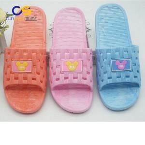 Durable PVC women indoor bathroom slipper with holes