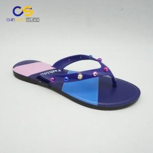 Stock new design PVC women flip flops with beads