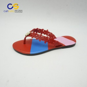 PVC flat flip flops women slippers with factory price