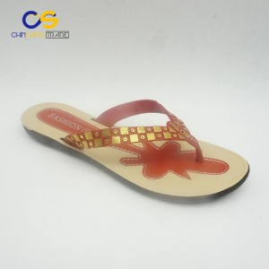 Young lady PVC beach flip flops with factory supply