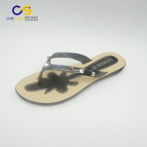 New design PVC women flip flops with beads