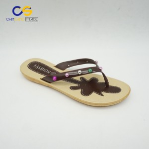 Top sell PVC Promotional women flip flops with beads
