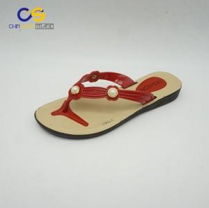 Red women outdoor summer PVC slipper shoes fashion flip flops for women