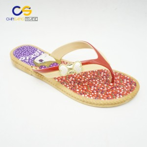 Antiskid PVC women flip flops summer hot sale slipper shoes for young lady with bowknot