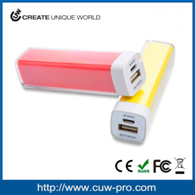 promotion gift OEM colorful lipstick style portable mobile power bank 2500mah