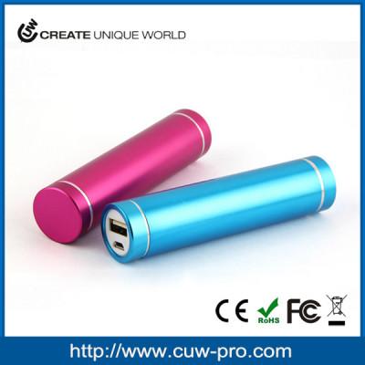 anodized color 2000mah,2200mah,2500mah,3000mah cylinder shape slim aluminium powerbank charger with custom logo