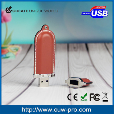 PU leather usb flash memory with embossed logo for promoiton