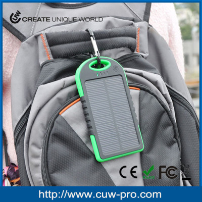 solar dual USB power bank 5000mAh with carabiner portable battery charger customized logo waterproof