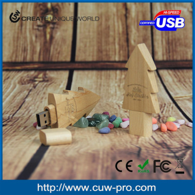 Christmas tree shape eco-friendly FSC wooden usb flash drive